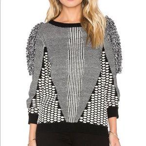 Tularosa black and white puff sleeve sweater